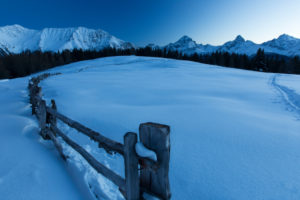 Blue hour in the nature reserve Parc Ela near Davos