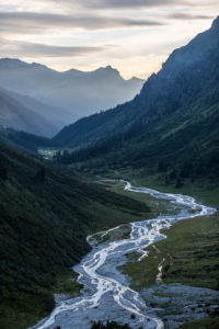 evening mood in the Prättigau in the Swiss Canton of Grisons