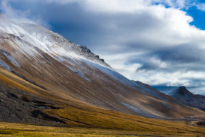 first snow of autumn on the slopes of the Albula Pass, Canton Grisons, Switzerland,