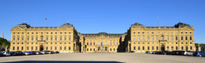 Germany, Bavaria, Upper Franconia Region, Würzburg, Residenzplatz, Franconia fountain (Frankoniabrunnen) in front of Würzburg residence of the eighteenth century (Residenz), baroque style, listed as World Heritage by UNESCO