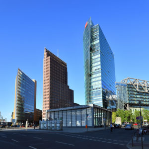 Germany, Berlin, Tiergarten district, Postdamer Platz (Potsdam Square), exit from the subway and Deutsche Bahn (DB) Tower