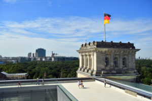 Germany, Berlin, Tiergarten district, the Reichstag or German Bundestag (German Parlement since 1999), a building conceived by Paul Wallot, inaugurated in 1894, with a glass dome added in 1999 by architect Sir Norman Foster