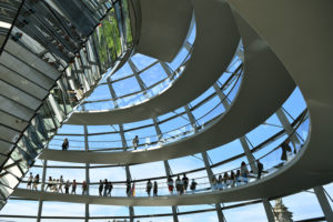 Germany, Berlin, Tiergarten district, Reichstag, Bundestag glass dome (German Parlement since 1999) by the architect Sir Norman Foster