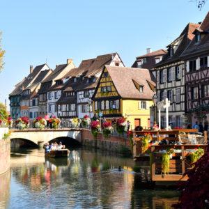 France, Haut Rhin, Alsace Wine Route, Colmar, La Petite Venise district, quai de la Poissonnerie, traditional half-timbered houses and Lauch river