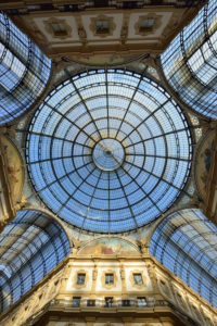 Italy, Lombardy, Milan, Vittorio Emmanuel II Gallery, shopping arcade built on the 19th century by Giuseppe Mengoni, the glass roof