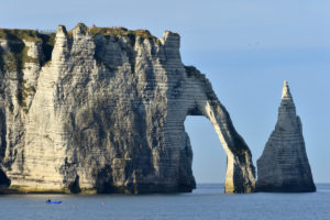 France, Seine Maritime, Caux, Alabaster Coast, Etretat, the Aval cliff, the Arch and the Aiguille (Needle) d'Aval