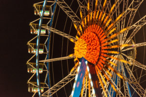 Oktoberfest in Munich, ferris wheel, lighting, detail, evening,