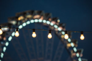 chain of lights and giant wheel