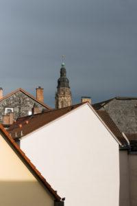 Stadtansicht von Coburg, Haus, Turm, Dächer