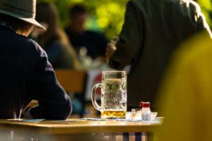 Beer garden reopened, distance, Munich, Aumeister