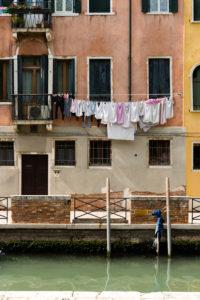 Italy, Veneto, Venice, old town, house facade, clothesline