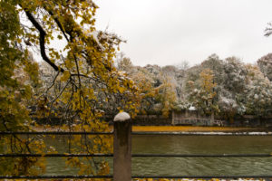 Snow in autumn, Isar, Munich, Bavaria, Germany