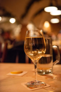 Wine and water, glasses, table, restaurant