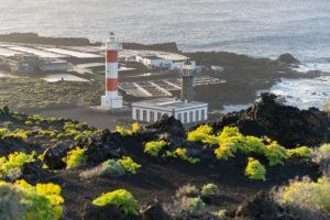 Leuchtturm Faro de Fuencaliente, Salinas de Fuencaliente, Insel La Palma, Kanarische Inseln, Spanien