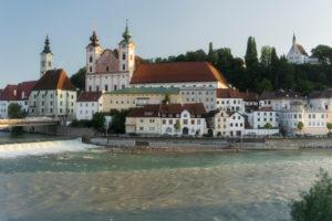 St. Michael's Church, river Steyr flows into the Enns, Steyr, Upper Austria, Austria