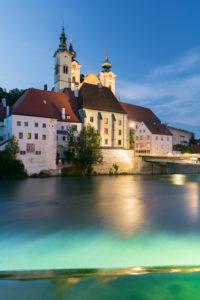 St. Michael's Church, river Steyr, Steyr, Upper Austria, Austria