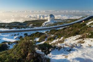 Observatorio del Roque de los Muchachos, Bergstraße, Insel La Palma, Kanarische Inseln, Spanien