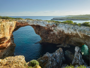 Rock arch near Cala Varques, Mallorca, Balearic Islands, Spain