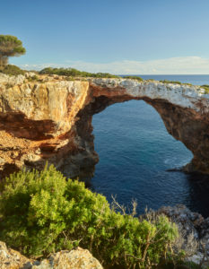 Rock arch near Cala Varques, Mallorca, Balearic Islands, Spain