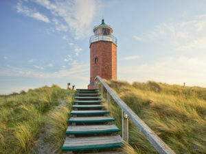 Lighthouse Quermarkenfeuer Rotes Kliff, Sylt, Schleswig-Holstein, Germany