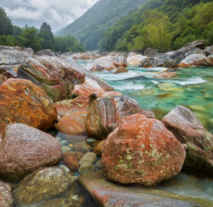Rocks in the Verzasca Valley, Verzasca River, Ticino, Switzerland