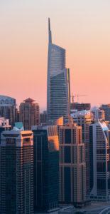 Jumeirah Lake Towers von der Dubai Marina, Almas Tower, Dubai, Vereinigte Arabische Emirate