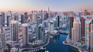 Blick über die Dubai Marina, Dubai, Vereinigte Arabische Emirate