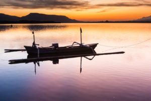 Bali Barat national park, fishing boat at sunrise