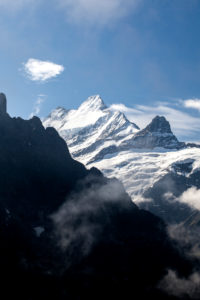 View of Mount Schreckhorn from First Grindelwald Bernese Oberland Canton of Bern Switzerland Europe