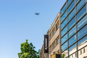 Drone flies over Schildergasse in Cologne