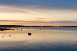 Sunset over the bay of Grankullaviken on Öland