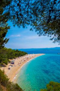 Brac, Croatia - June 3, 2017: Zlatni rat beach is the most famous in Croatia