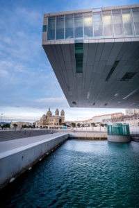 Marseille, France, Contemporary Architecture of the Villa Mediterranée Conference Center Designed by Stefano Boeri (2013) at Dusk Marseille, France,