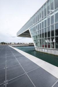 Marseille, France, Modernist Architecture of the Villa Mediterranée Conference Center Designed by Stefano Boeri (2013) at Dusk Marseille, France,