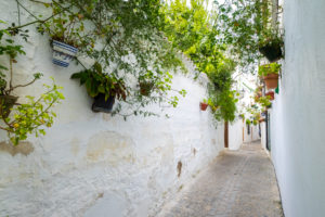White architecture and traditional Andalusian decoration in the Villa neighborhood in the center of Priego de Cordoba in Andalucia in southern Spain