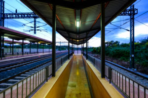 Train station without people at sunset in the metropolitan area of Barcelona in Catalonia Spain