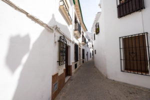 White architecture in the Villa neighborhood in the center of Priego de Cordoba in Andalucia in southern Spain