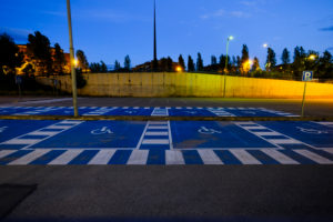 Special parking area for people with different capacities in a train station in Catalonia in Spain