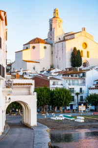 View of the village of Cadaques and the church of Santa Maria during the sunrise on the Costa Brava in the province of Girona in Catalonia Spain