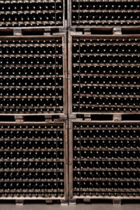 Hundreds of bottles of wine in a winery of the denomination of origin Ribera del Duero in Valladolid Spain Europe