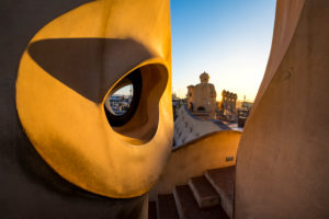 Roof of the Casa Mila (also known as La Pedrera) of the Catalan modernist architect Antoni Gaudi located on the famous Avinguda de Gracia street in the Eixample area in the city of Barcelona in Catalonia Spain