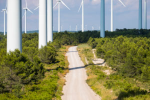 Wind turbine power generators in the province of Lerida in Catalonia Spain