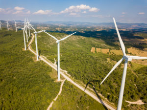 Wind turbines on hilltop in Lerida province in Catalonia Spain