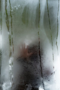 Poetic image of reflections in a garden and forest with a person in an atmosphere of a dream