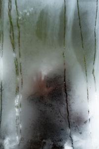 Poetisches Bild von Reflexionen in einem Garten und Wald mit einer Person in einer Atmosphäre eines Traumes