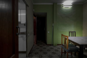 Barcelona, Catalonia, Spain, April 12: apartment during the 2020 quarantine due to the corona covid-19 virus or coronavirus pandemic in the city of Barcelona, capital of Catalonia in Spain