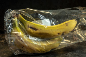 banana packed in non-biodegradable plastics