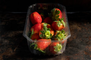 bunch of fresh organic strawberries produced in a bio orchard in the surroundings of Barcelona