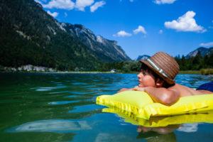 Boy, air mattress, lake, child, mountain
