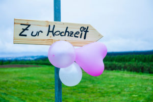Wedding, signpost, wood, meadow, balloon,